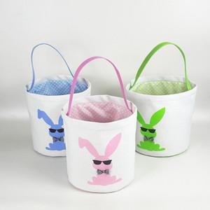 Cestas Bolsas 15styles la cesta de Pascua Pascua conejito almacenamiento de los huevos de caramelo cubo de lona conejo de lentejuelas de almacenamiento de asas de Pascua Bolsas GGA3189