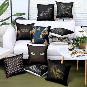 가정용 쿠션 커버 핫 판매 베개 인쇄 동물 과일 블랙 화이트 트윌 원단 베개 홈 장식 45 * 45 CM