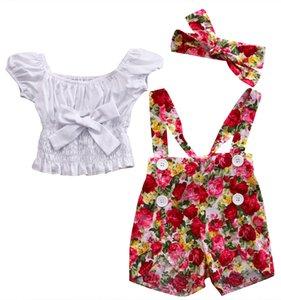 Lindo verano recién nacido nacido Bebé White Girl Tops floral Peto Pantalones banda de sujeción 3pcs Trajes Set Ropa para 0-4Years