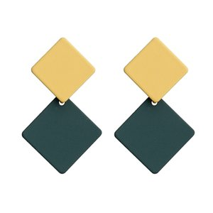 MOQ:10Pairs Korean version of the new paint geometric square earrings exaggerated fashion simple wild red earrings retro cold wind female