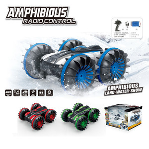 Four-wheel drive remote control amphibious stunt car 2.4G waterproof double-sided driving tank car toy remote control double-sided car