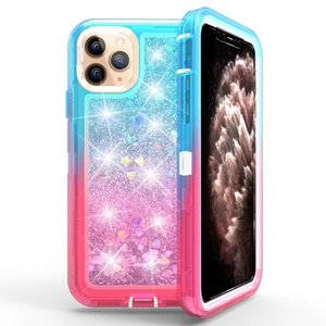 Protective Robot Cover Defender Phone Case Sublimated Color Sparkle Liquid Clear Transparent Heavy Duty Shell for iPhone 11 Pro Max XR XS