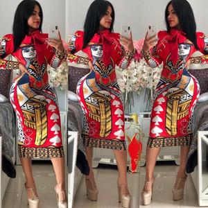 2020Women Мода платье Stretch вечернее платье Trend шаблон Multi-Style Bodycon Цветочные печати Женщины в Полиэстер Размер S-2XL 5 Styles-