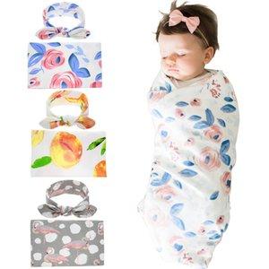 Новорожденный пеленает Пледы Обертывания + лук кроличьи ушки ободки 2 шт Набор Swaddlling Фото Wrap Ткань Цветочные цветок Детские постельные принадлежности D3510