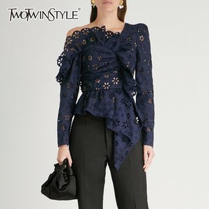 Twotwinstyle Shirt Lace Damen Bluse Langarm Schulterfrei Holing Asymmetric Tops Damen Herbst 2018 Sexy Fashion Y19071101