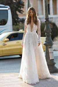 2020 Elegant Berta Wedding Dresses Sexy Deep V Neck Backless 3D Flora Lace Appliques Beach Bridal Gown Custom Robe De Mariee