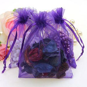 Borse gioielli all'ingrosso MIXED Organza Jewelry Wedding Party Xmas Gift Bags Viola Blu Rosa Giallo Nero Con coulisse 7 * 9cm