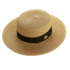 Mulheres chapéu de aba larga Cap Straw Bee ouro das mulheres Moda Flat Top tecido tampas menina Bucket Hat Verão chapéus de sol do vintage viseira