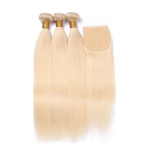 613 Blonde Bundles With Closure 3 PC Brazilian Virgin Straight Virgin Human Hair Weft With 4X4 Closure
