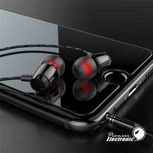Alambre de metal de alta calidad a granel auriculares pesada juego el bajo en la oreja los auriculares deportivos de 3.5mm para auriculares para el teléfono móvil MP3 MP4 PC Samsung S7 S8
