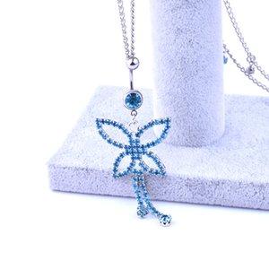 Wasit Belly Dance Blue Butterfly catena dei monili del corpo di cristallo in acciaio inossidabile Ombelico del tasto di Bell Piercing ciondolano Anelli per regalo delle donne