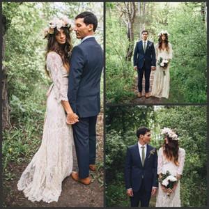 Vestidos de novia de manga larga bohemios de encaje inspirados en 2019 Vestidos de novia modestos con cuello en V de playa Boho Vestidos de novia baratos más grandes