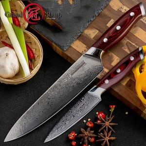 Şam Bıçak Seti 2 adet Şam Japon Paslanmaz Çelik VG10 Şef Maket Bıçaklar Pişirme Mutfak Şef Bıçağı Pro Pişirme Araçları