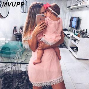 MVUPP vestidos de madre e hija Moda sólida para mamá y para mí ropa de aspecto familiar mamá bebé vestido elegante trajes a juego verano