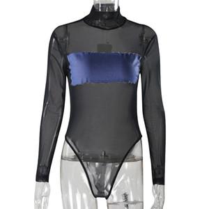 Transparent Sexy Bodysuit Frauen Strampler Bodycon Bodysuit Long Sleeve Mesh-Bodysuit Sheer durchschauen Bodysuits