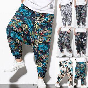 Imprimir Mens Causal Vintage Baggy Boho Elastic Cross-calças soltas Calças Aladdin perna larga, Algodão, Linho Harem Pants