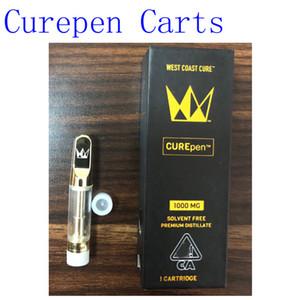 0.8 1.0ml Golden Curepen Carts West Coast Cure Sin solvente Premium destilado 1000mg Vape Cartucho de aceite con caja de embalaje a prueba de niños