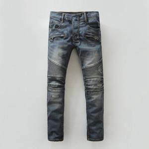 Die Jeans der neuen Männer dunkle dünne Art- und Weisemischbaumwolle BLM kleine Bein-Jeans-Pers5onlichkeit-Lokomotive 28-42 Größe