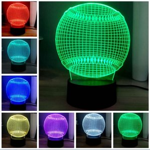 Creativo 3D Baseball Shape LED 7 colore cambiando camera da letto comodino palla da tavolo Softball LED Night Light Baby Sleep Lighting Room Table Deco