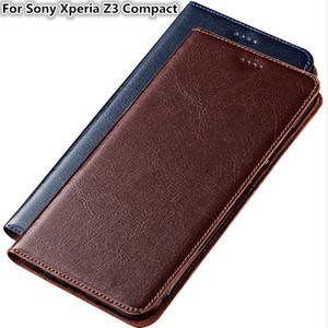 Cas de téléphone de haute qualité pour Sony Xperia Z3 Compact véritable sac de téléphone en cuir de vachette avec fente pour carte pour Sony Xperia Z3 Compact