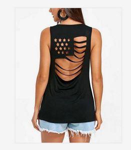 T-shirt Sexy New EUA Bandeira Nacional Womens Base de Verão Tops Ladies Tees Estados Unidos da América sem mangas desgaste Lagest Tamanho S-5XL