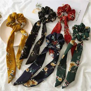 INS 5 couleurs Vintage Hair Scrunchies Bow Femmes Accessoires Bandeaux Cravates Cravate Titulaire De Queue De Cheval En Caoutchouc Corde Décoration Big Long Bow 19