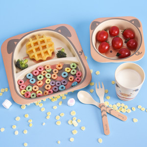 Цветных Бамбуковых волокна детской посуды набор творческого мультфильм чаша раскол лоток ложка вилка чашка пяти частей подарка посуда набор YDL012