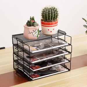 Metal Mesh File Storage Shelf Stackable A4 Paper Document Failure Storage Trays Holder Magazine Bookend Office Organizer