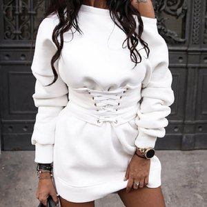 Womens Solid O Neck Long Sleeve Fleece Thick Dress Waistband Belt Bandage 2020 A Line Clothes Robe Noel Femme 50