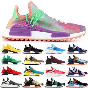 2019 adidas HU Pharrell NMD Mens Corrida Humana BBC vermelho xadrez tênis Pharrell Williams sol calmo Inspiração Solar sports runner sneakers