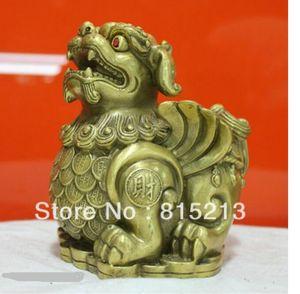 """NOVO """"Chinese Folk Cultura HandMade Puro Bronze estátua Brave tropas PiXiu Escultura"""