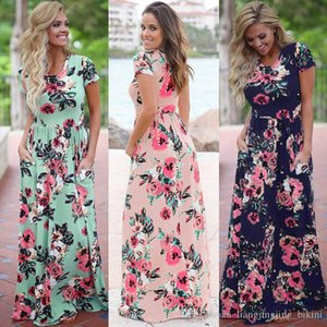 Women Floral Print Short Sleeve Boho Dress Evening Gown Party Long Maxi Dress Summer Sundress Clothing 10pcs OOA3238