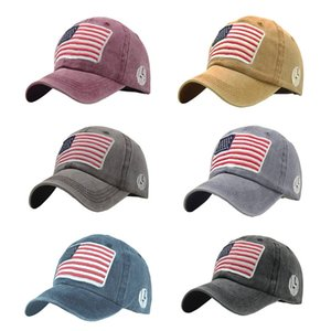 Unisex Cap Retro Washed American Flag Letter Embroidered Personality Casual Cotton Hat Headwear Outdoor Sports Wear Visors New