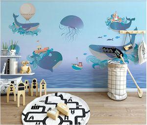 WDBH 3d wallpaper custom photo Nordic creative laser gradient ocean whale children's room background wall home decor murals for walls 3 d