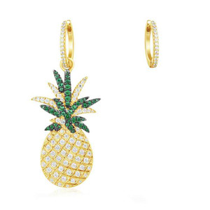 Encantadores pendientes de moda de verano, amarillo, blanco chapado en oro, pendientes de piña CZ para niñas, mujeres para la fiesta, regalo de boda para un amigo