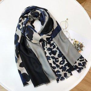 Senhoras Moda Leopardo Patchwork Xale Viscose Cachecol Outono Inverno Silencioso Headband Foulards Sjaal Envoltório Hijab Snood 180 * 100 Cm
