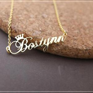 الذهب اللون شخصية اسم ولي قلادة اليدوية تخصيص لوحة قلادة الفولاذ المقاوم للصدأ سلسلة مجوهرات هدايا عيد الميلاد