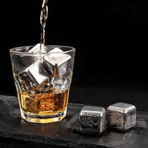 NEW 4Pcs set Whiskey Wine Beer Stones Stainless Steel Cooler Stone Ice Rocks Cube Alcohol Chiller Stone SZ672