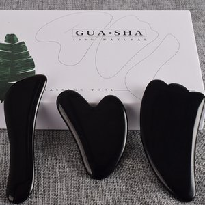 3pcs / set Gesicht Körper Scraper schwarz Obsidian Scraping-Brett-Satz Verteidigung Fuß Guash Scratch Massagekristallstein Gua Sha Massage-Tools