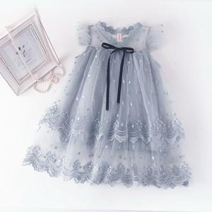 Stickerei Mädchen Kleid Spitze Kragen Flare Hülse Sommer Prinzessin Kleider Baby Kleidung 2-7Y E16641