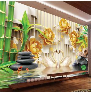 3d duvar kağıdı Salon Güzel Altın Şakayık Swan Lake View Özelleştirilmiş Duvar kağıdı Duvarlar İçin Ev Dekorasyon