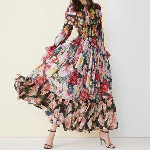 Высокое качество 2019 нового способа платье макси женщин с длинным рукавом Удивительная Printed талии Эластичная Vintage Бич шифон длинное платье