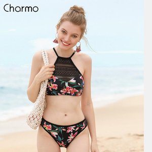 Charmo Women Bikini Set Vintage Floral Print Mesh Swimwear Hollow out Swimsuit Bathing Suit Sexy Beachwear Sexy Bikini