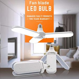 Lampadina Garage LED, luce del LED 45W deformabile bianco freddo, E27 / E26 pieghevole ventilatore di pala 6500K ultra luminoso soffitto lampada della lampadina per la casa Garage
