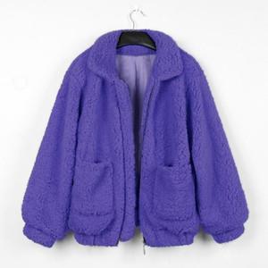 Escudo Joineles Marca otoño Faux Cordero Mujeres solapas cremallera Bolsillos ocasionales flojas chaquetas Outwear mullido caliente gruesa cintura ancha Coats