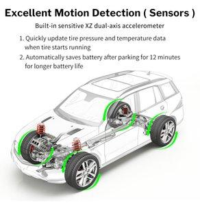 4 개 센서와 온도 경고 충전 TPMS 자동차 타이어 모니터링 압력 디스플레이 자동차 경보 모니터 태양 광 발전