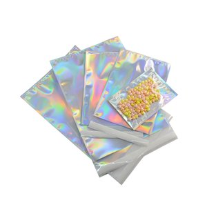 Big size Laser Self-seal Adhesive Cosmetic Package Bag Jewelry Clear Front Holographic Aluminum Foil Envelope Mailing Bags Pouch