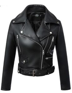 2019 New Fashion Women Autunno Inverno Nero Faux Giacche in pelle Zipper Basic Coat Turn-down Collar Biker Jacket With