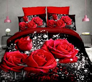 40면 3D 로즈 침구 높은 품질 부드러운 이불 커버 홑이불 베개 반응성 인쇄 침구 퀸 침대 리넨 세트