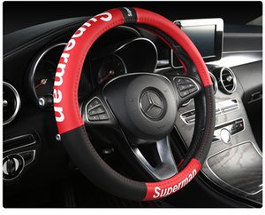 Voiture de luxe Housse de volant 15 pouces Voitures sièges en cuir Coussins Sup Décoration Mode Noir Auto Accessoires